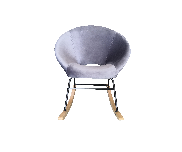 Rocking chair en velours gris