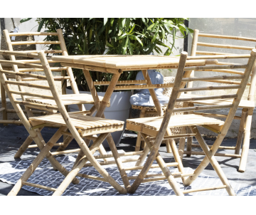 Bamboo set 1 table + 4 chaises