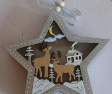 étoile en bois lumineuse à...